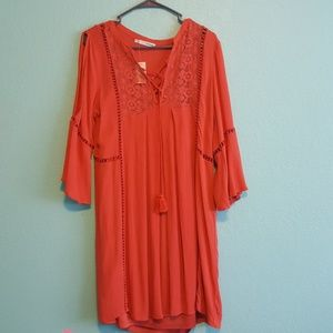 Cold shoulder burnt orange dress